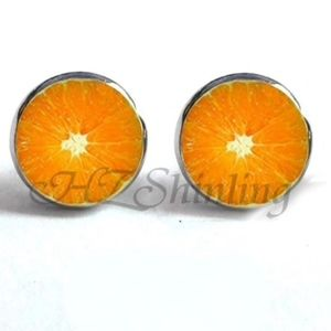 Jewelry - NEW Silver Round Orange Slice Stud Earrings